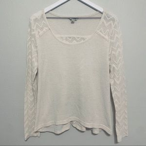 {Lucky Brand} Cream Lace Thermal Top